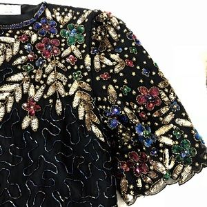 Black sequin beads vintage flora top size small